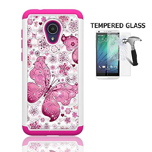 Alcatel Avalon V Case, Phone Case for Straight Talk Alcatel TCL LX/TracFone Alcatel TCL LX/Alcatel idealXTRA Case/Alcatel 1X Evolve, Studded Diamond Bling Cover Case (White-Pink Butterfly) (Pink Straight Talk Phones)