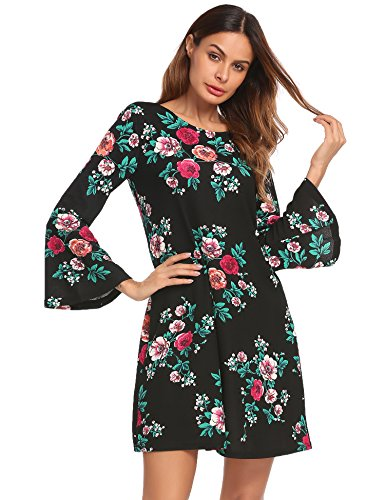 Dress Long Floral Bell Flower Beyove Print Women's Dress Sleeve Tunic RS5qOaw