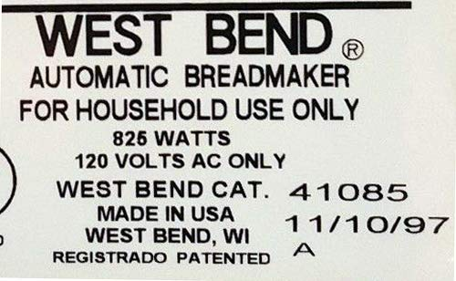 West Bend Pan máquina remo 41085 amasar hoja parte eléctrica ...
