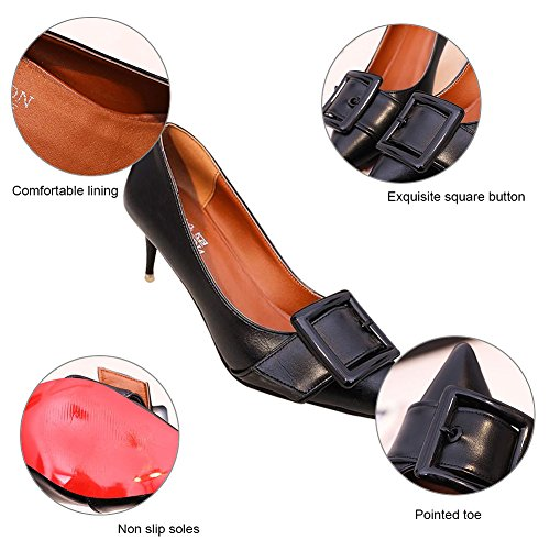 PADGENE Women's High Stilettos Heels Court Shoes Ladies Fashion Pointed Toes Pumps Dress Party Wedding Shoes Black ahA4StHn