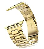 Ivy&Falcon Apple Watch Band Solid Stainless Steel Metal Strap Polishing Process Business Replacement iWatch Strap Watchband (Gold 42mm)