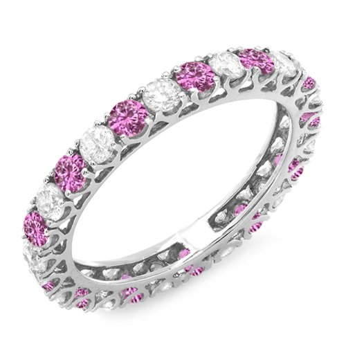 Dazzlingrock Collection 14K White Gold White Diamond & Pink Sapphire Eternity Wedding Stackable Band