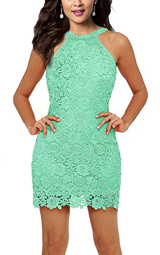 Women's Knit Dresses Lace Halter Sleeveless Midi Gown Mint Green XXL ()