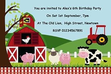 10 X Personalised Farm Animals Farmyard Theme Birthday Party Invitations