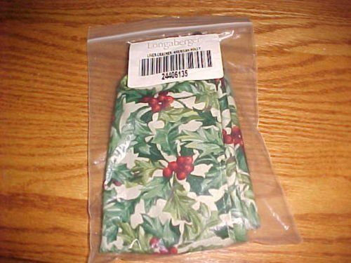 Longaberger Cracker Basket American Holly Fabric Drop In Style Liner New In Bag