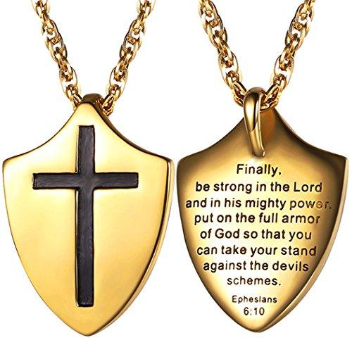 Gods Armor Jewelry - The Full Armor Of God Shield Necklace,Cross Pendant,Catholic,Christian Jewelry,Bible Verse Ephesians 6:10,Religious Gift for Men or Women,PSP2750J
