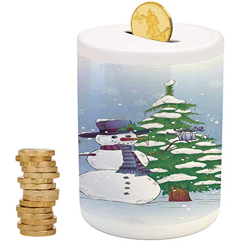 Christmas Decorations,Ceramic Girls Bank,Printed Ceramic Coin Bank Money Box for Cash Saving,Snowman in Winter with Mistletoe Gift Top Hat and Scarf Tree and - Pig Savvy Bank