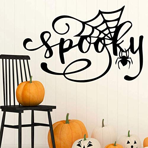 Home Halloween Decor - Spider and Spider Web Silhouette – Vinyl lettering 'Spooky' Living Room, Entryway, Party, Fall, Autumn - Variety of Colors and Sizes ()