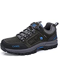 Men's Outdoor Leather Hiking Shoes Breathable Lightweight Sneaker for Walking Trekking