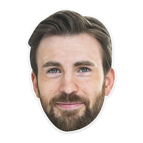 Happy Chris Evans Mask, Perfect for Halloween, Masquerades, Parties, Festivals, Concerts - Jumbo Size Waterproof -