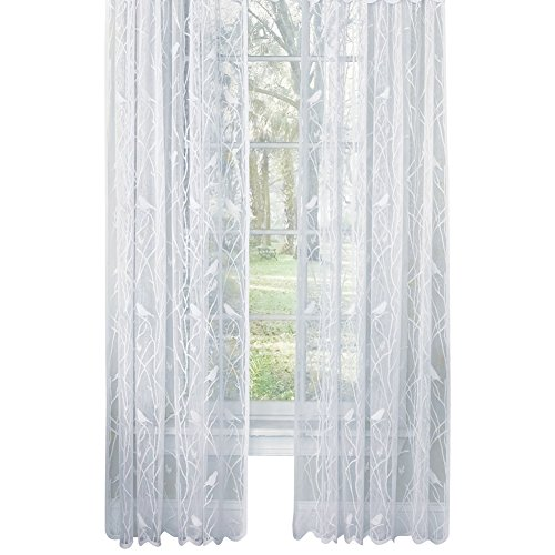Collections Etc Songbird Rod Pocket Lace Curtain Panel with Scalloped Hem, White, 56