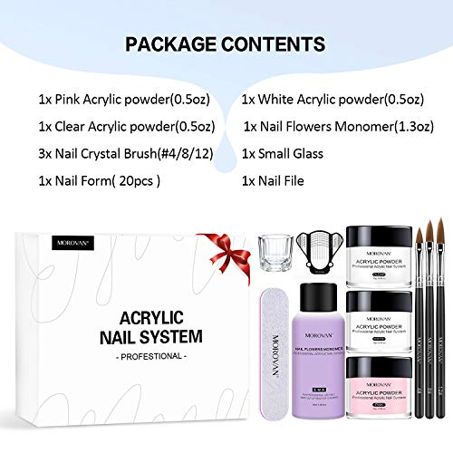 Morovan Acrylic Nail Kit Acrylic Powder and Professional Liquid Monomer set with Acrylic Nail Brush Nail Forms pointers for Acrylic Nails Extension Beginner equipment