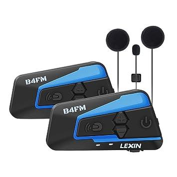 LEXIN 2X B4FM Intercomunicador Casco Moto, Moto Bluetooth Radio Comunicador para Casco, Manos Libres para Moto, Intercom Casco Moto para 4 Motoristas, ...