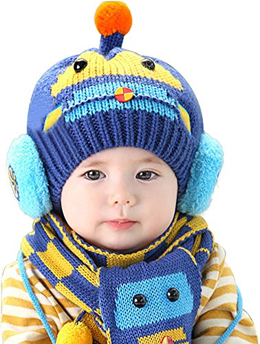 Ababalaya Unisex-baby Cute Winter Warm Beanie Knitted Earflap Cap with Scarf 6M-3Y,Navy Car Old Navy Winter Hat