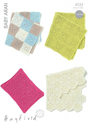 Hayfield Baby Blankets Crochet Pattern 4533 Aran (Aran Knitting Patterns For Babies And Toddlers)