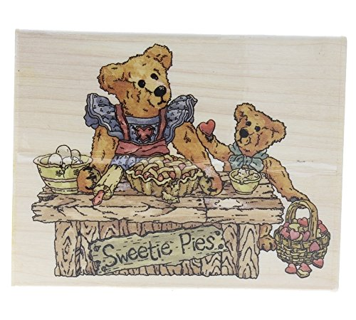 Boyds Collection Sweetie Pies Stand Teddy Bear Love Wooden Rubber Stamp ()