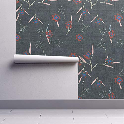 (Peel-and-Stick Removable Wallpaper - Floral Floral Modern Home Decor Floral French Flower Petal Leaf Modern by Holli Zollinger - 24in x 60in Woven Textured Peel-and-Stick Removable Wallpaper Roll)