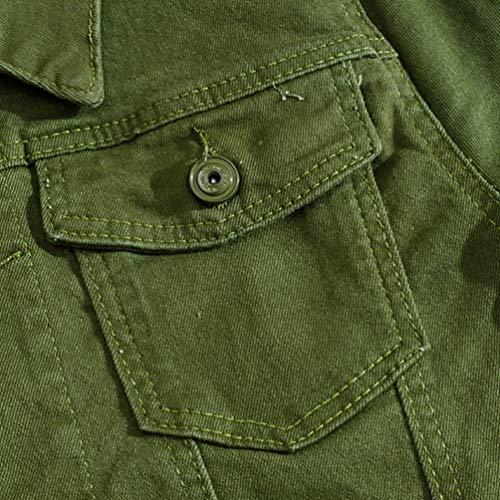 Sottile Di Tempo Giacca Libero Cappotto Verde Jeans Inverno Uomo Yiijee Denim qC06ww