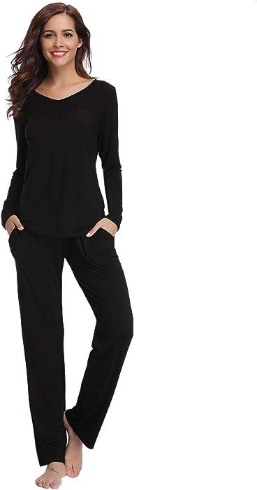 f85c57eb2 Abollria Women Modal Pajamas, Soft Pyjama Set, Sleepwear Tops & Bottom Pjs  Set Nightwear