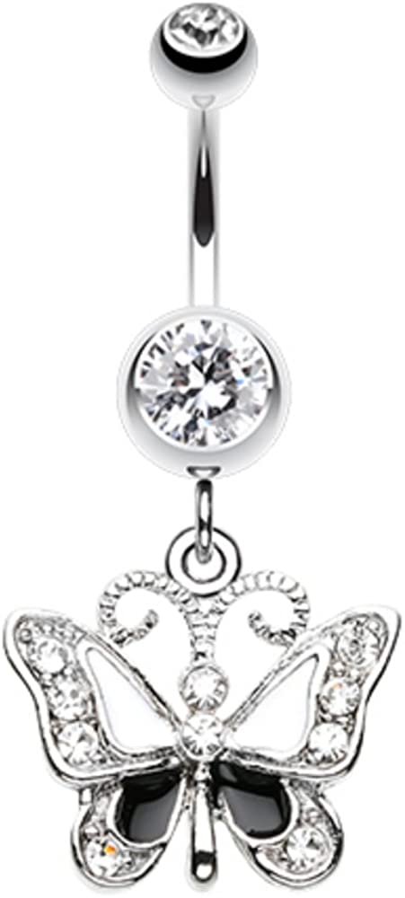WildKlass Jewelry Butterfly Delight 316L Surgical Steel Belly Button Ring