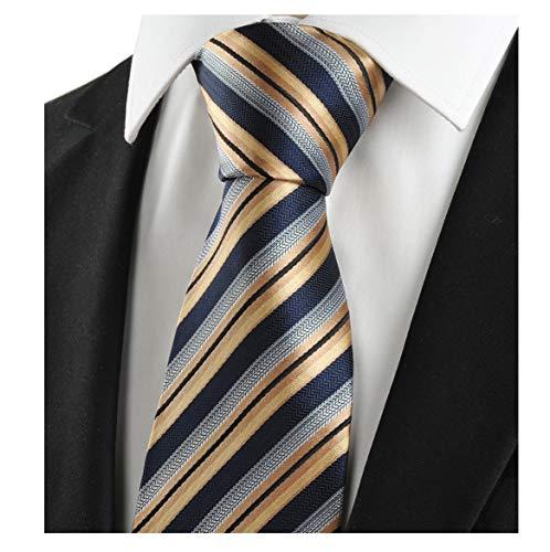 (L04BABY Men's Classic Gold Blue Striped Tie Jacquard Woven 100% Silk)