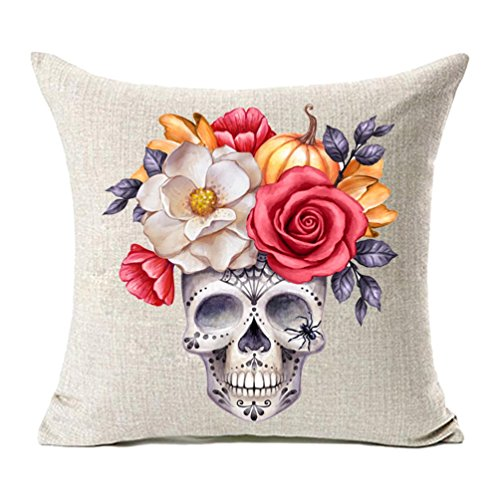 MFGNEH Halloween Decorations Flowers Pumpkin Skull Pillow Covers 18x18, Home Decor Cotton Linen Sofa Throw Pillow Case Cushion Cover,Spider Decorations]()