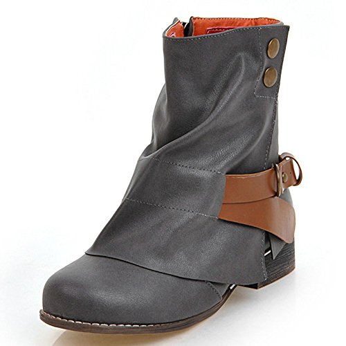 Leather Concise Calf Slouch Mid Women Buckle 2 DoraTasia Grey Heel 's Boots Light Block Slouchy Chunky Side CqRtSUE