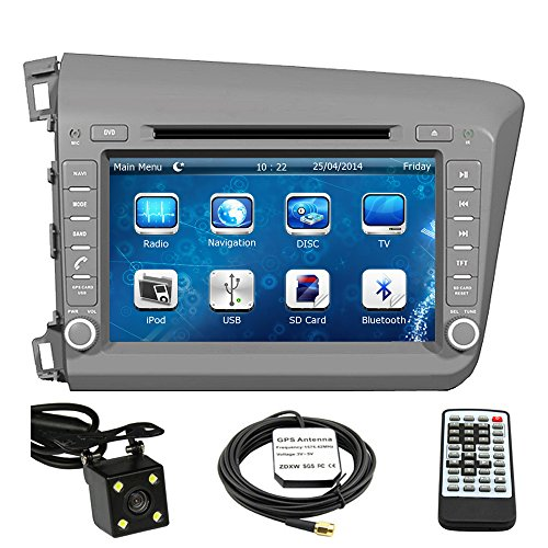 Car GPS Navigation System for 2012 Honda Civic / 2012 Honda Civic Hybrid Double Din Car Stereo DVD Player 8 Inch LCD Touchscreen TFT Monitor In-dash DVD Video Receiver with Built-In Bluetooth TV Radio, Support Factory Steering Wheel Control, RDS SD/USB input iPod AV BT AUX IN+ Free Rear View Camera + Free GPS Map of USA