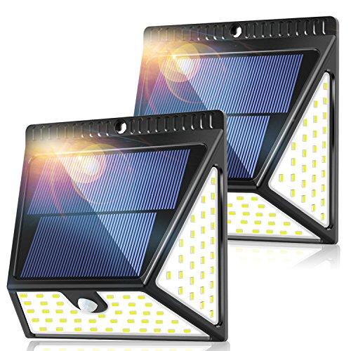 82 LEDs Solar Motion Sensor Lights Outdoor, ZOOKKI Super Bright Waterproof Solar Powered Wall Lights Outside, Wireless Security Lights Night Light for Garden Fence Deck Yard Garage Driveway-2 Pack