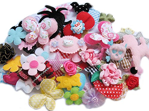YYCRAFT Craft Mix Bulk 60pcs Ribbon Flowers Bows Craft Wedding Ornament Appliques