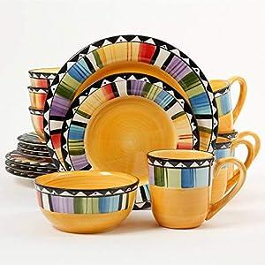 Gibson Home Fandango 16-Piece Dinnerware Set (Yellow, Multicolor)