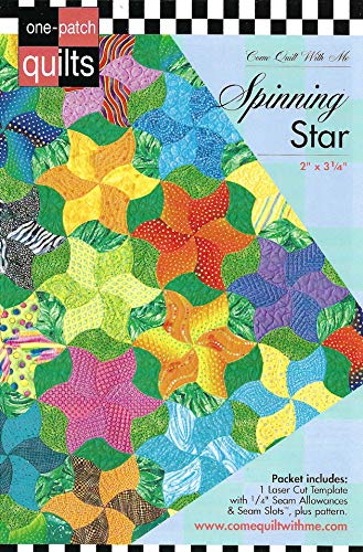 Spinning Star 2 x 3 1//4 Come Quilt with Me Template