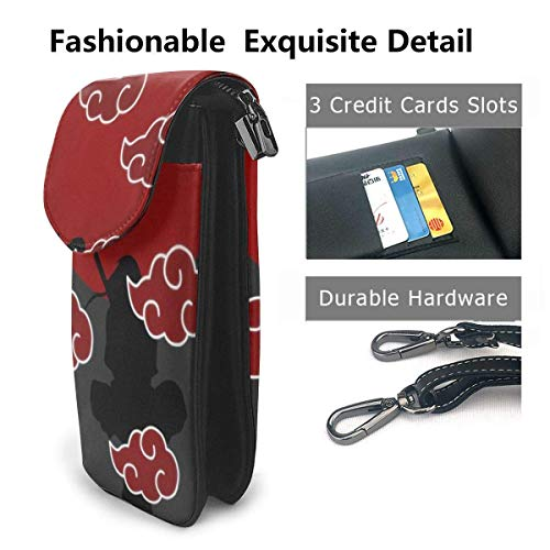 Hdadwy mobiltelefon crossbody väska anime Naruto1 kvinnors crossbody handväskor handväska lätta väskor läder mobiltelefon hölster plånbok fodral axelväskor med justerbar rem