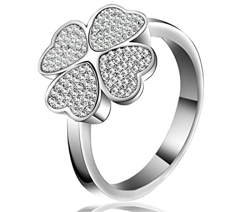 Lucky Dora Platinum Plated Four-Leaf Clover Silvery Band Rings with Cubic Zirconia, Size 8 (Platinum Dora)