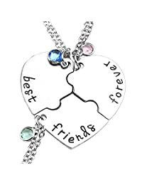 Top Plaza Silver Tone Alloy Rhinestone Best Friends Forever and Ever BFF Necklace Engraved Puzzle Friendship Pendant Necklaces Set
