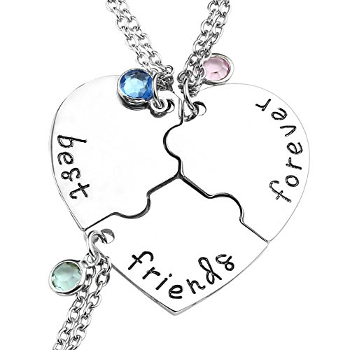 Top Plaza Silver Tone Alloy Rhinestone Best Friends Forever and Ever BFF Necklace Engraved Puzzle Friendship Pendant Necklaces Set(Set of 3)]()
