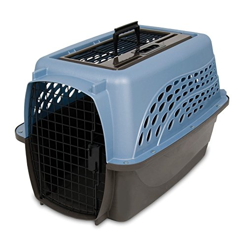 Cat Crate (Petmate Two Door Top Load 24-Inch Pet Kennel, Metallic Pearl Ash Blue and Coffee Ground Bottom)