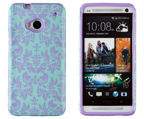 DandyCase 2in1 Hybrid High Impact Hard Sea Green Flower Pattern + Purple Silicone Case Cover For HTC One M7 4G LTE + DandyCase Screen Cleaner