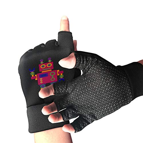 HU MOVR Cartoon Color Robot Mountain Bike Gloves Shockproof Half Outdoor Sports Exercise Short Glove for Men Women