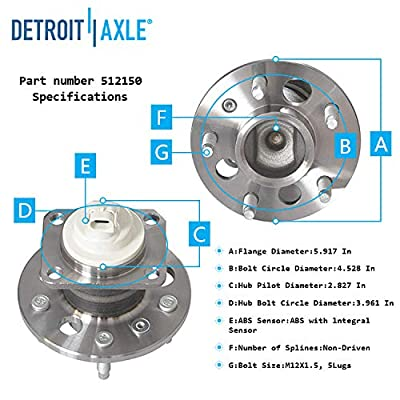 Brand New (Both) Rear Wheel Hub and Bearing Assembly for Alero, Grand Am, Malibu 5 Lug W/ABS (Pair) 512152 x2: Automotive