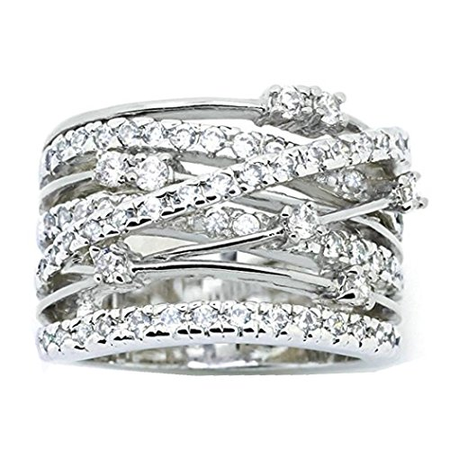 Lethez Clearance Criss Cross Diamond Cylindrical Band Ring New Creative Engagement Wedding Jewelry (White, 6)