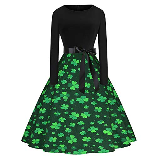 - Euone Dress Clearance Sales, St. Patrick's Day Women's Shamrock Evening Print Party Prom Swing Dress