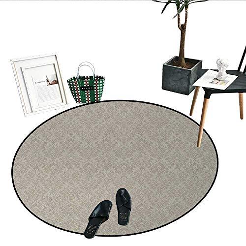 (Taupe Bathroom Round Area Rug Carpet Italian Style Rich Flower Motifs Vintage Antique Effects Artistic Ornamental Swirls Dots Non Slip Round Rugs (36