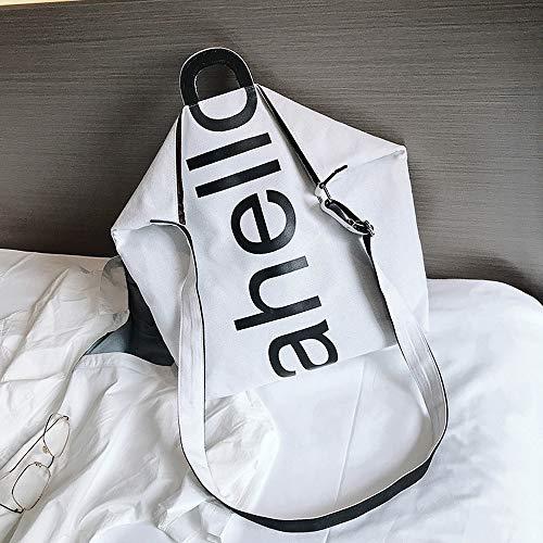 Bag Bag Letter White Canvas Fashion Square Shoulder Women Printed Travel Bag Messenger ZOMUSAR Handbag wqY74gZWx