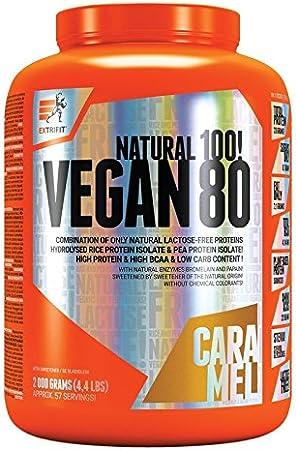 Extrifit Vegan 80 Paquete de 1 x 2000g Aislado de Proteína de Guisante y de Arroz Hidrolizado Proteína Vegetal (Caramel)
