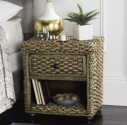 Nightstand, Bedstand - Brown Wash Braided Wicker with Drawer - Add Charm to Your Bedroom Or Guestroom -