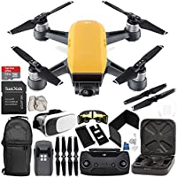 DJI Spark Portable Mini Drone Quadcopter (Sunrise Yellow) + DJI Spark Remote Controller EVERYTHING YOU NEED Starter Bundle