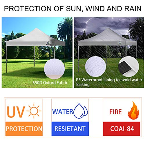 Sunnotic 10 x10 Canopy Tent Pop Up Canopy Portable Shade Instant Heavy Duty Outdoor Gazebo White Pop Up Tent with Carry Bag Bonus 4 SandBags Weight for Outdoor Wedding Party Tent Commercial BBQ Beach