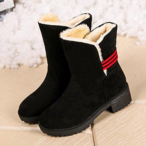 Sikye Femmes Bottes De Neige Douce Botte Dhiver Bottes De Cheville Chaudes Chaussures Plat Avec Noir
