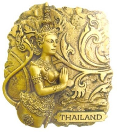 GOLD-LOOK FINISHING KINAREE Bangkok Thailand Souvenir 3d Resin 3D fridge Refrigerator Thai Magnet Hand Made Craft by Thai Magnet Craft by Thai Magnet Craft